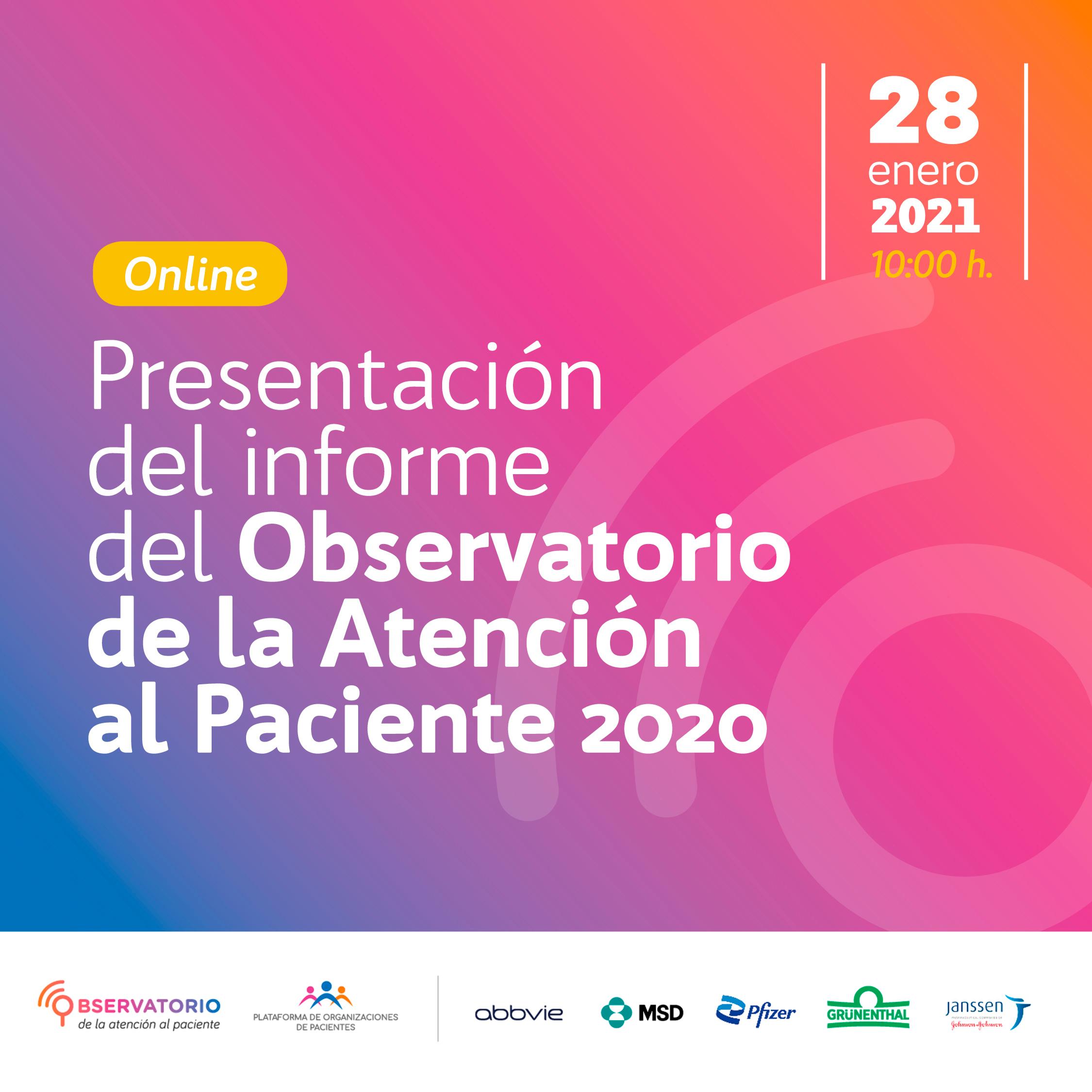 presentación del informe del observatorio de la atención al paciente 2020